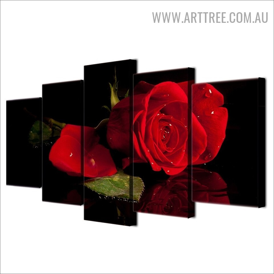 Red Rose Leaf Abstract Floral Modern 5 Piece Over Size Artwork Image Canvas Print for Room Wall Decoration