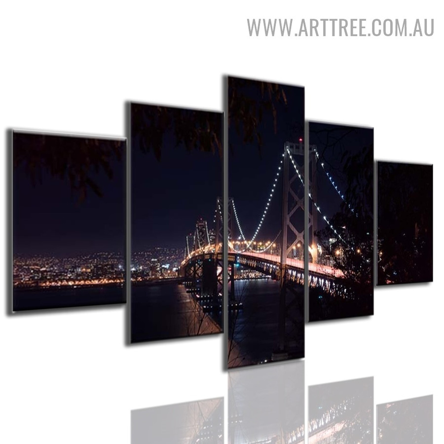 City Bridge View Lights Modern Landscape Abstract 5 Multi Panel Image Canvas Art Print for Room Wall Ornament