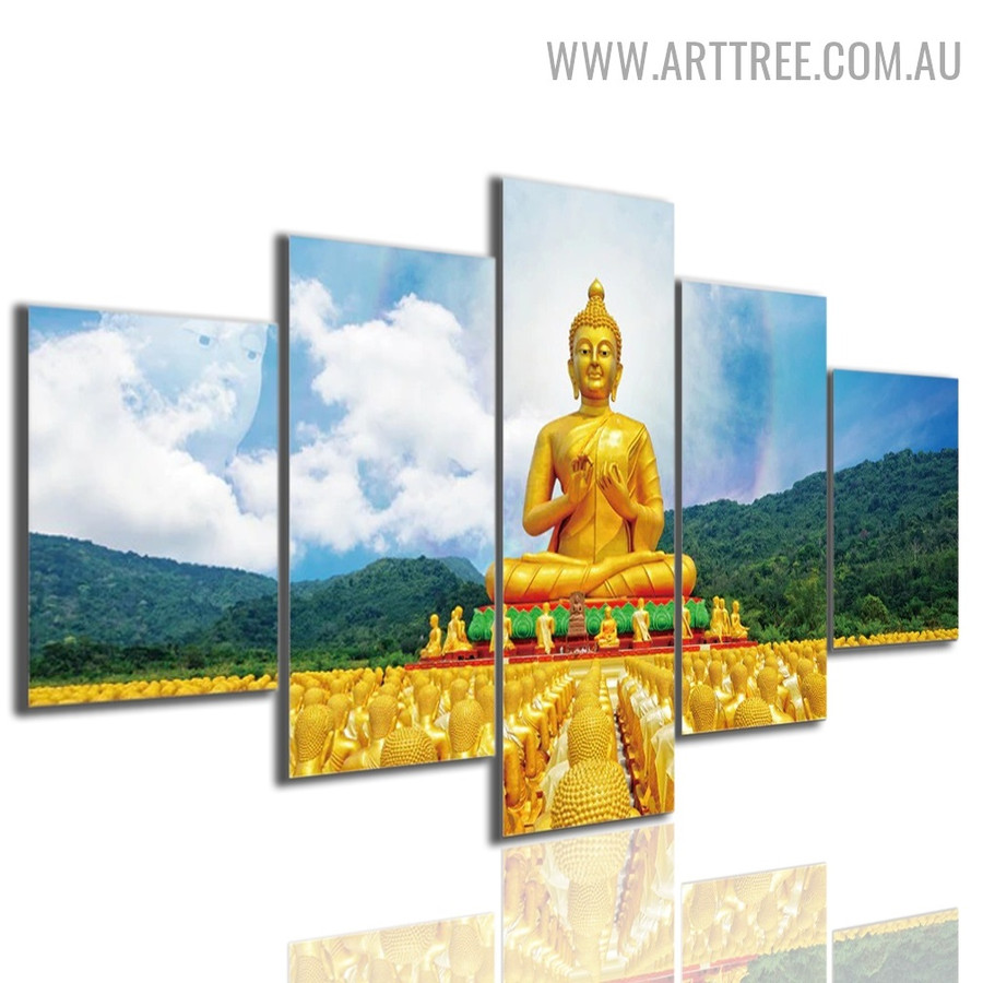 Buddha Statue Sky Floral 5 Piece Large Size Image Modern Canvas Landscape Artwork Print for Room Wall Ornament