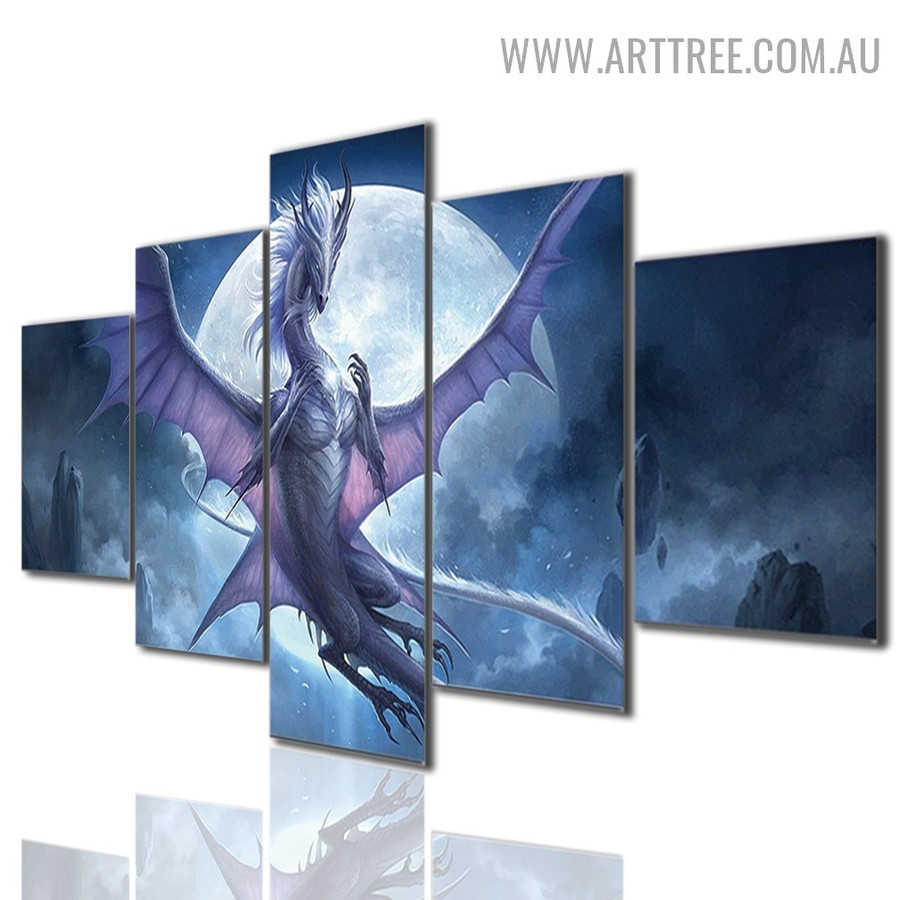 Dragon Moon Sky Naturescape 5 Piece Multi Panel Animal Image Modern Canvas Painting Print for Room Wall Ornamentation