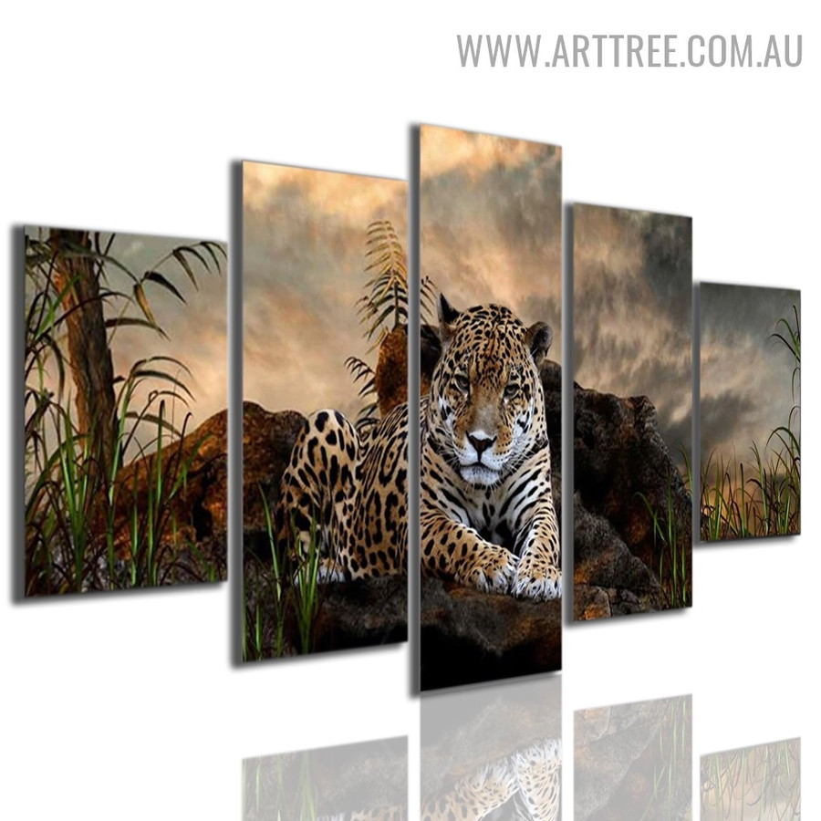 Sapling Tiger Grass Modern 5 Piece Multi Panel Floral Animal Image Canvas Artwork Print for Room Wall Flourish
