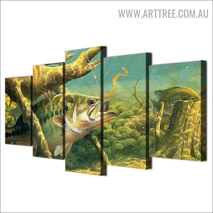 Aqua Plants Modern Animal 5 Multi Panel Floral Artwork Image Canvas Print for Room Wall Garniture