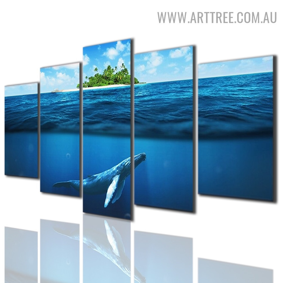Swimming Fish Trees Seascape Modern 5 Piece Animal Size Over Art Image Canvas Print for Room Wall Finery