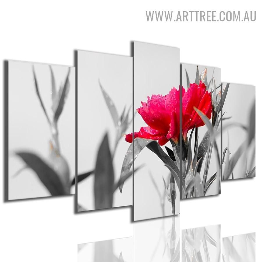 Red Floret Floral Modern 5 Piece Split Canvas Art Image Canvas Print for Room Equipment