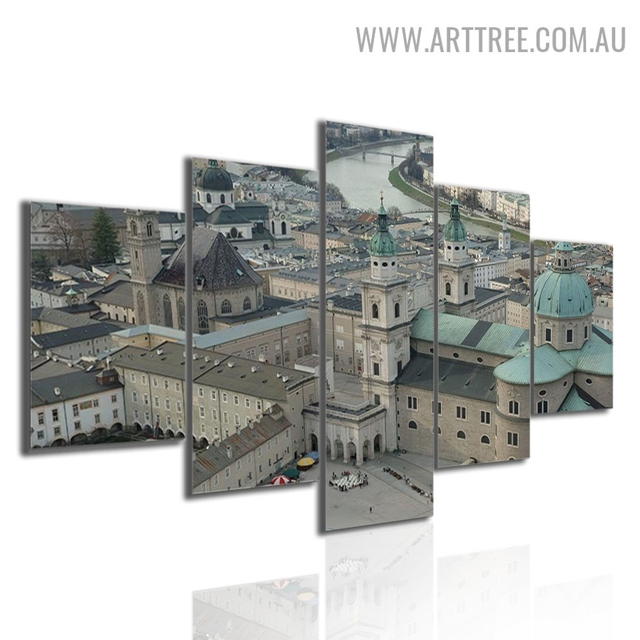 Salzburg Cathedral Land Landscape 5 Piece Multi Panel Modern Image Canvas Art Print for Room Wall Outfit