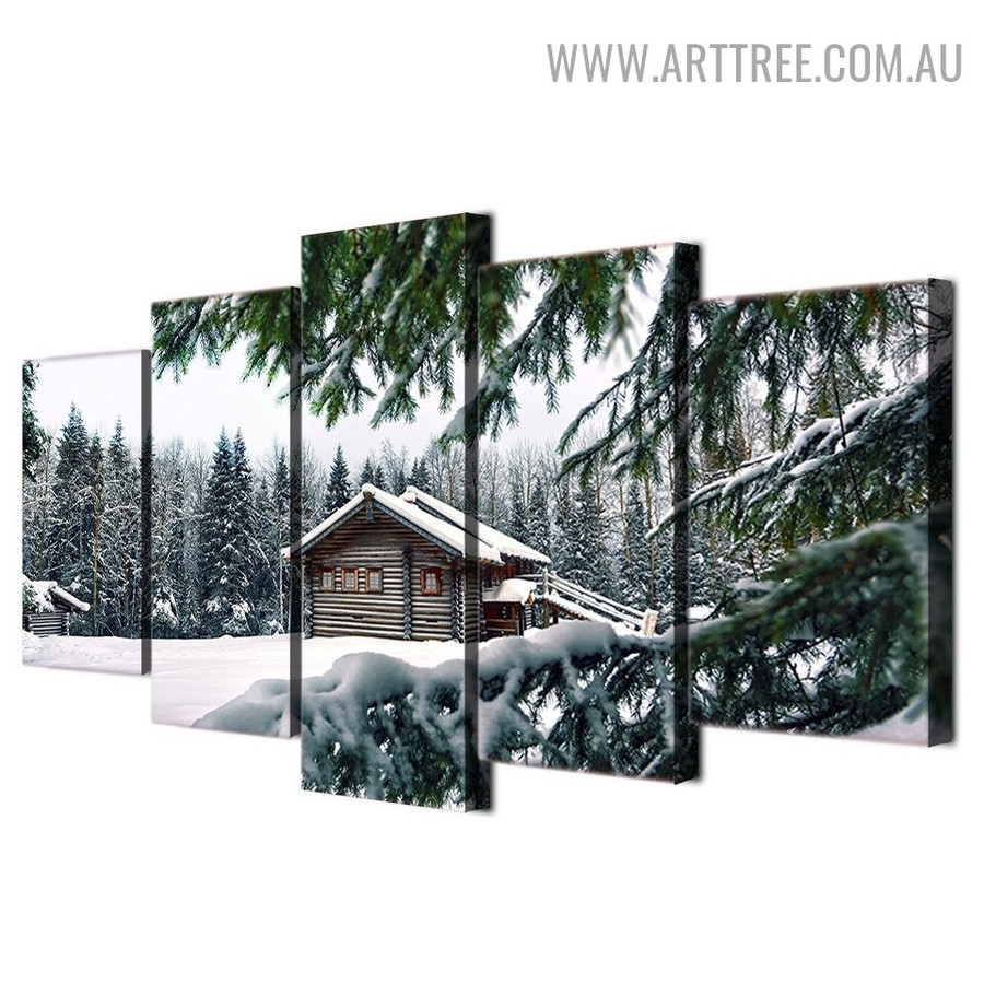Snow Hut Land Animal Modern Landscape 5 Piece Over Size Floral Painting Image Canvas Print for Room Wall Moulding