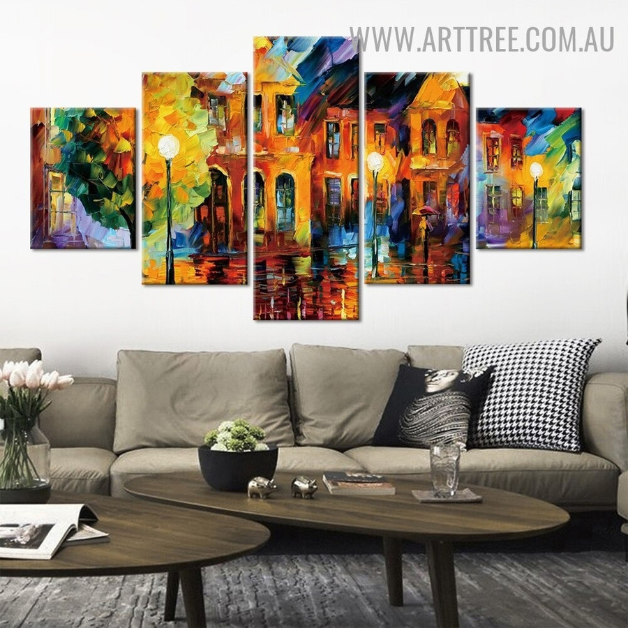 Hued Houses Street Lights Abstract Modern 5 Piece Split Panel Landscape Artwork Image Canvas Print for Room Wall Disposition