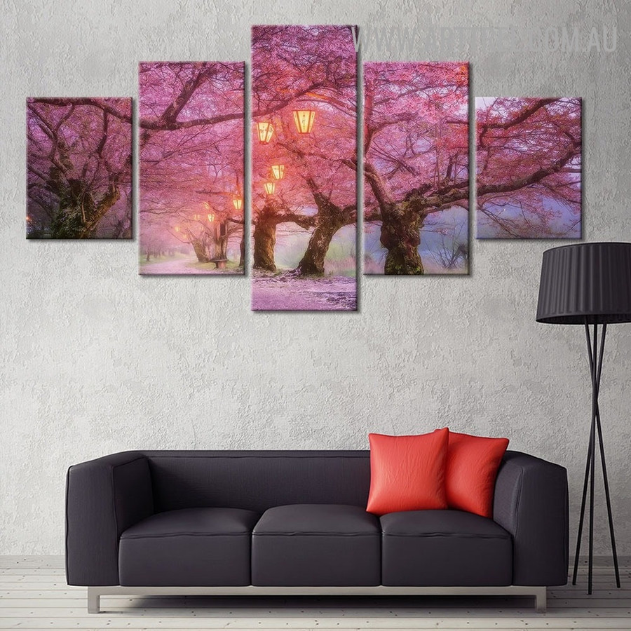 Alleyway Lights Land Naturescape Modern 5 Multi Panel Landscape Image Canvas Painting Print for Room Wall Embellishment