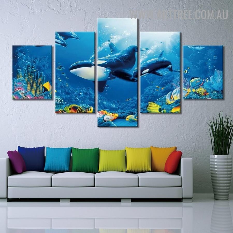 Ocean Whale Plants Animal Seascape Modern 5 Piece Split Painting Image Canvas Print for Room Wall Drape