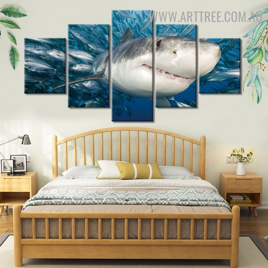Shark Fish Water Animal Seascape Modern 5 Multi Panel Art Image Canvas Print For Room Wall Adornment