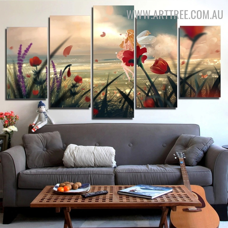 Beautiful Sprite Leaves Modern 5 Piece Floral Multi Panel Image Canvas Seascape Painting Print for Room Wall Drape