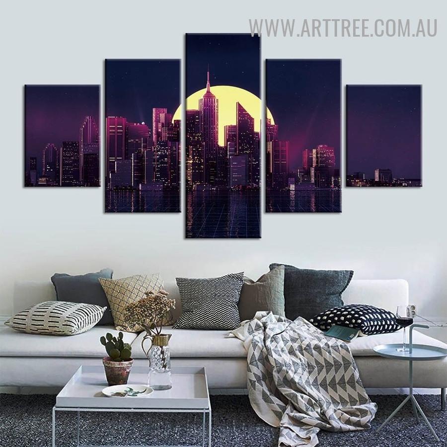 Empire State Pile Landscape Modern 5 Multi Panel Art Image Canvas Print for Room Wall Garnish
