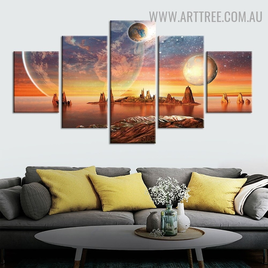 Planets Water Sky Seascape Modern 5 Piece Multi Panel Landscape Image Canvas Painting Print For Room Wall Molding