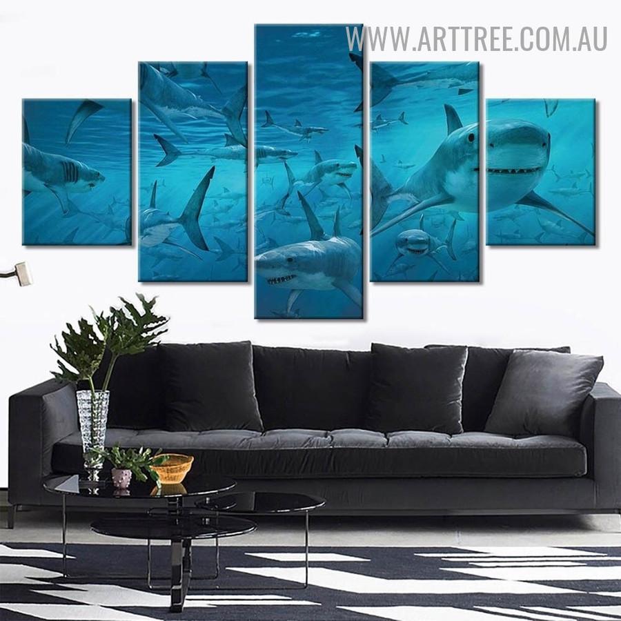 School Shark Modern Animal 5 Over Size Seascape Artwork Image Canvas Print for Room Wall Assortment