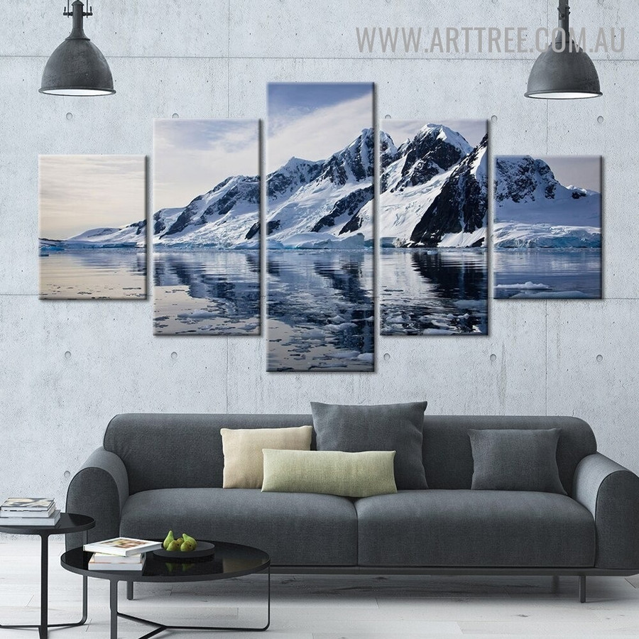 Matterhorn Hills Sky Naturescape 5 Piece Multi Panel Image Canvas Seascape Painting Print for Room Wall Decoration