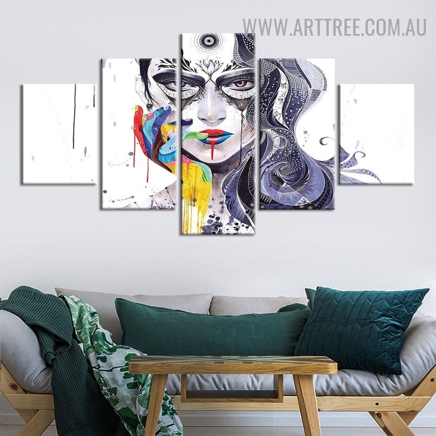 Female Visage Lines Abstract Modern 5 Piece Large Size Figure Painting Image Canvas Print for Room Wall Arrangement
