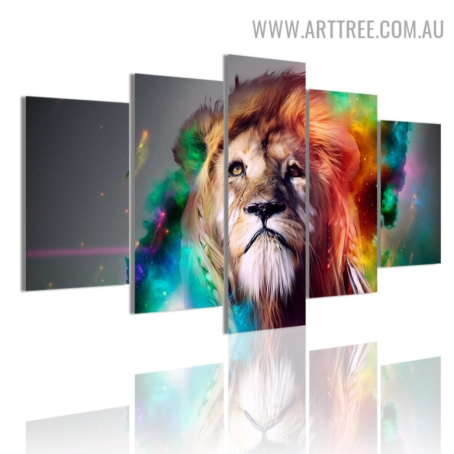 Splash Lion Spot Abstract 5 Piece Multi Panel Animal Image Modern Canvas Painting Print for Room Wall Onlay