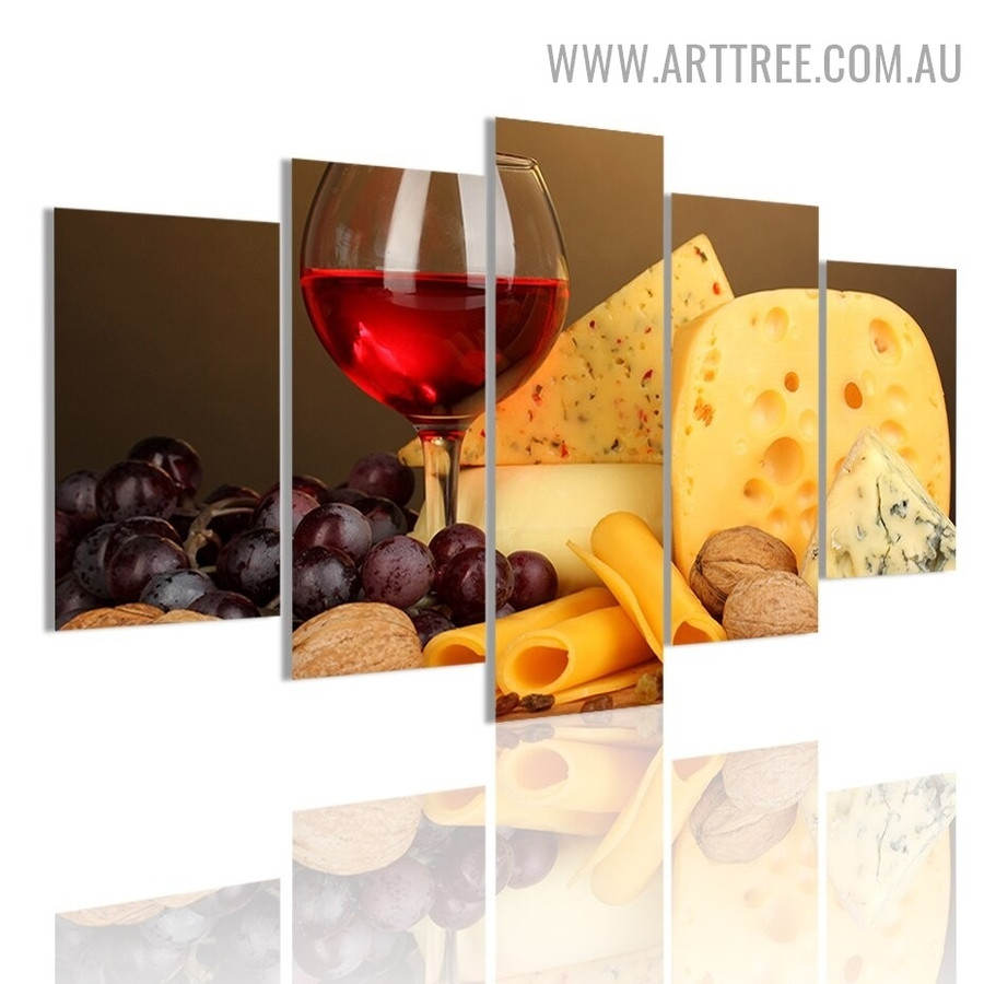 Fruit Wine Cheese Modern 5 Piece Over Size Food Beverage Artwork Image Canvas Print for Room Wall Finery