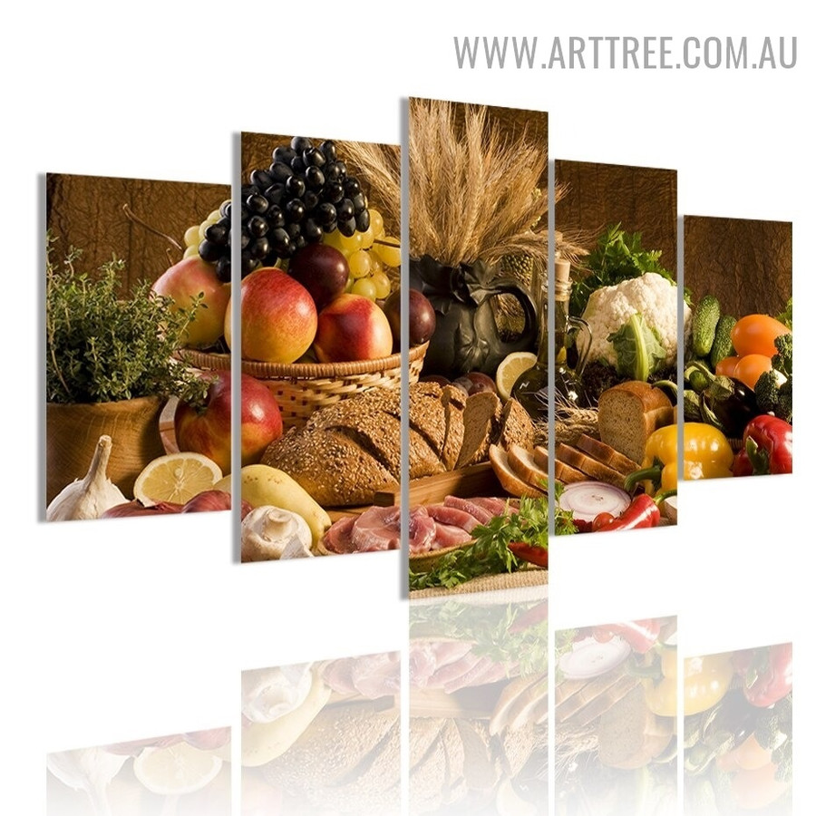 Fruits Junket Vegetables Food Modern 5 Piece Split Wall Art Image Canvas Print for Room Trimming