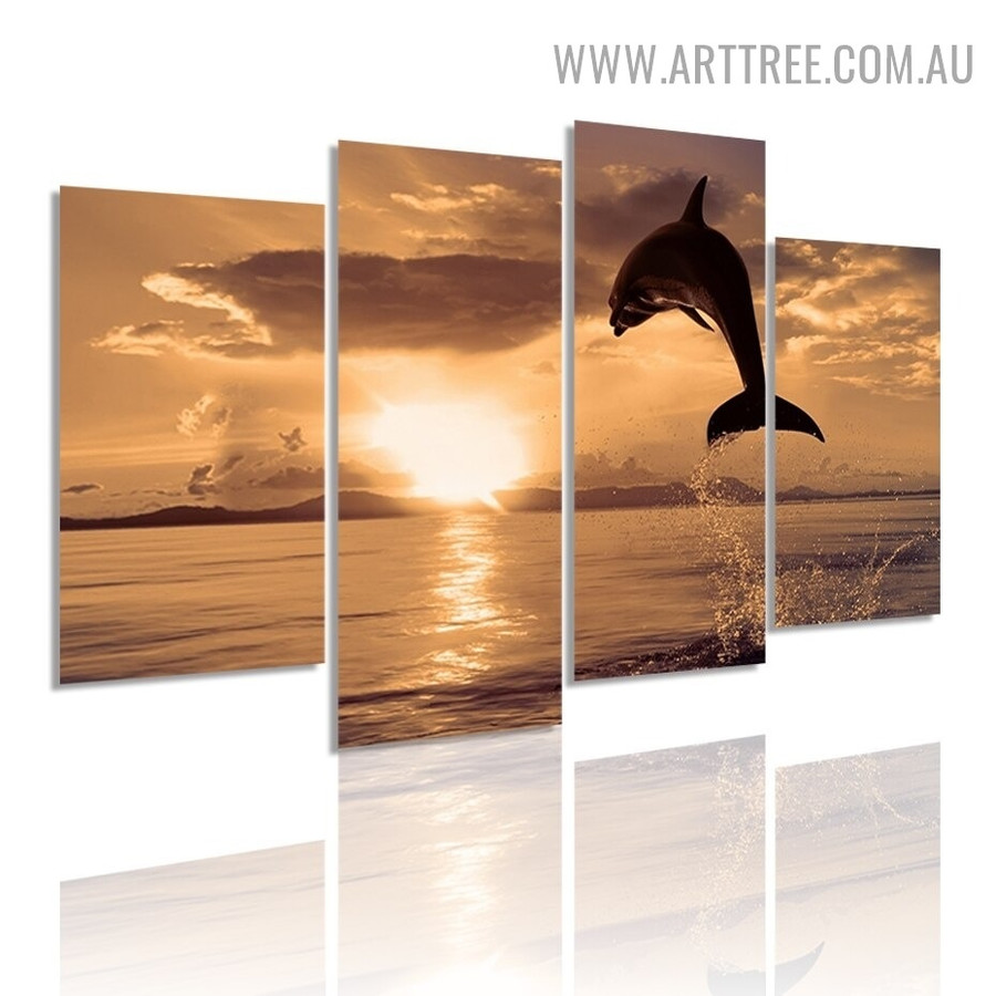 Jumping Dolphin Water Seascape Modern 5 Piece Large Size Wall Art Photo Canvas Print for Room Molding