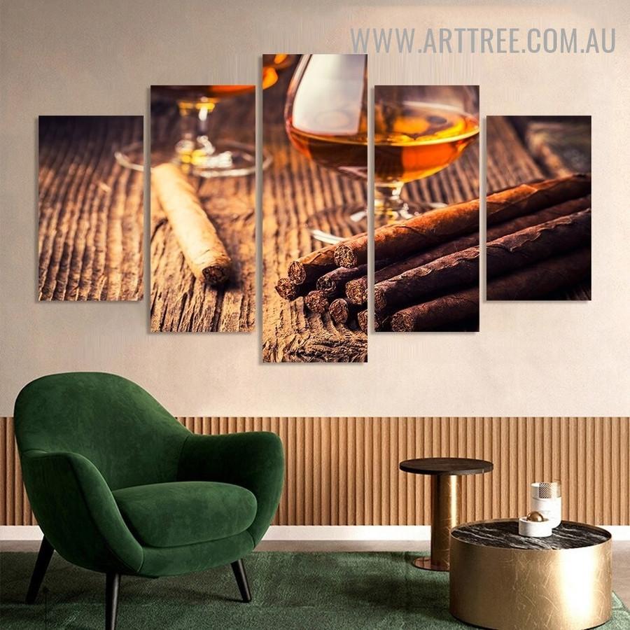 Cuban Cigar Rum Beverage Modern 5 Piece Multi Panel Image Canvas Art Print for Room Wall Decor