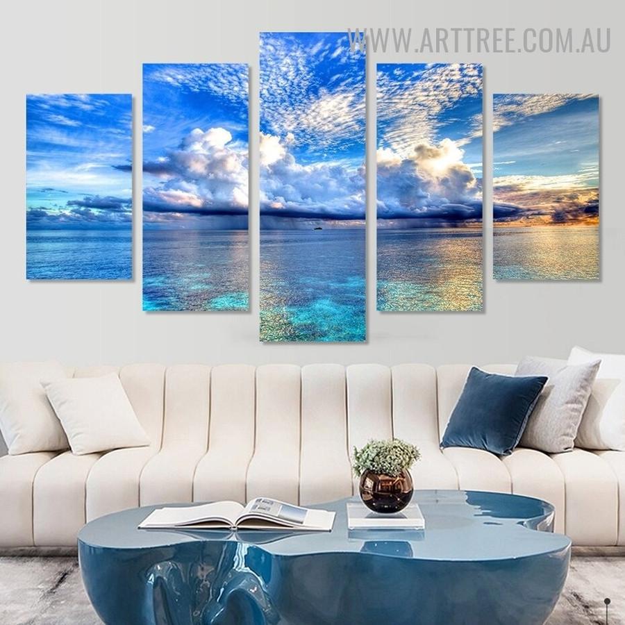 Ocean Welkin Modern 5 Piece Multi Panel Seascape Image Canvas Artwork Print for Room Wall Flourish