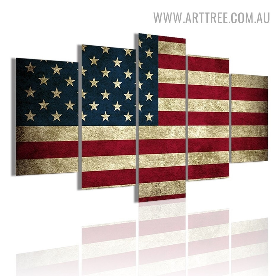 American Flag Modern 5 Piece Multi Panel Abstract Image Canvas Painting Print for Room Wall Molding