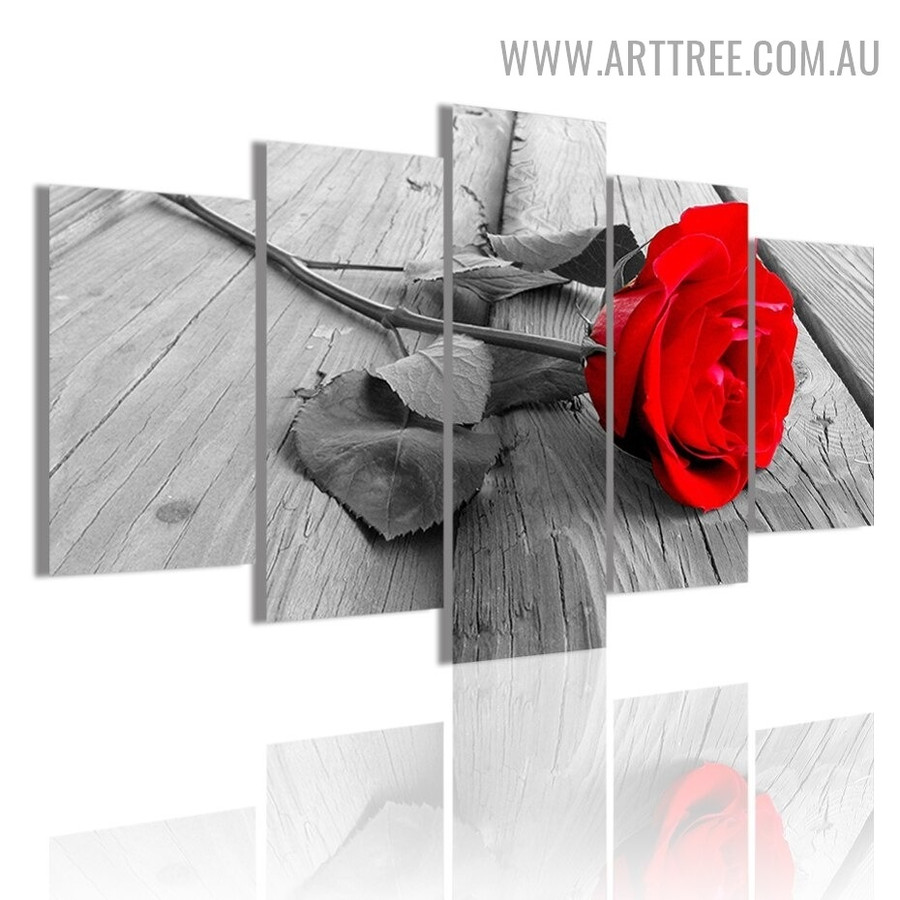 Red Rosette Leaves Floral Modern 5 Piece Split Artwork Image Canvas Print for Room Wall Tracery