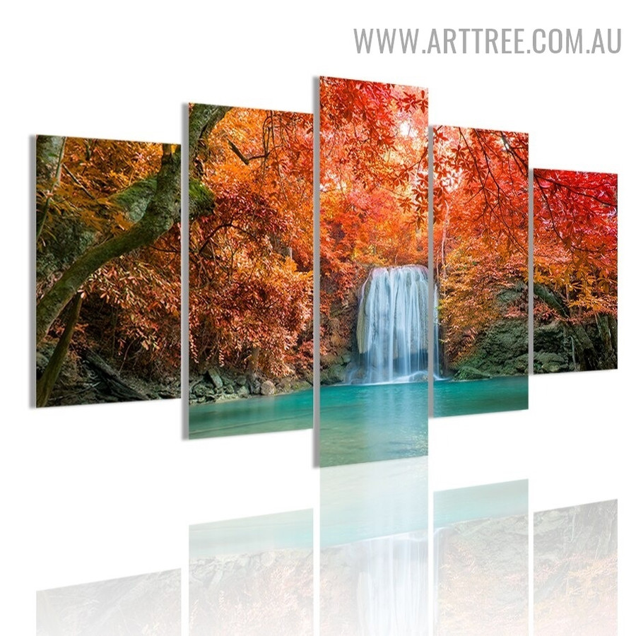 Waterfall Mount Trees Landscape Modern 5 Piece Split Painting Image Canvas Print for Room Wall Adornment