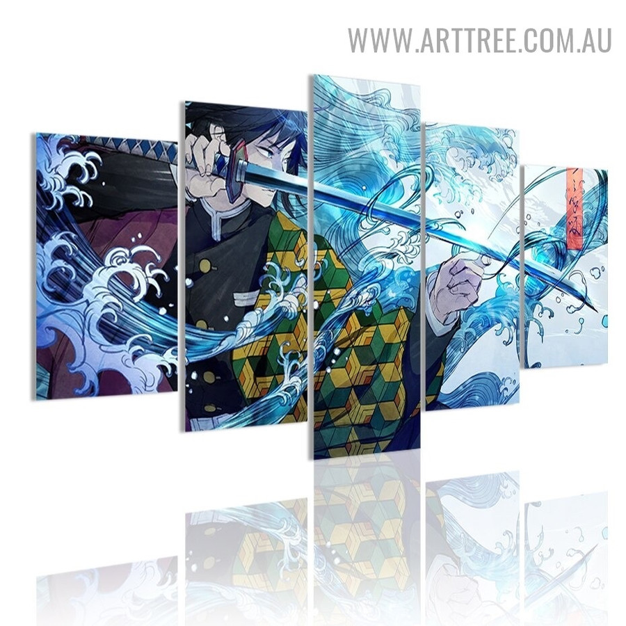 Demon Slayer Sword Abstract Figure Modern 5 Multi Panel Image Canvas Artwork Print for Room Wall Drape