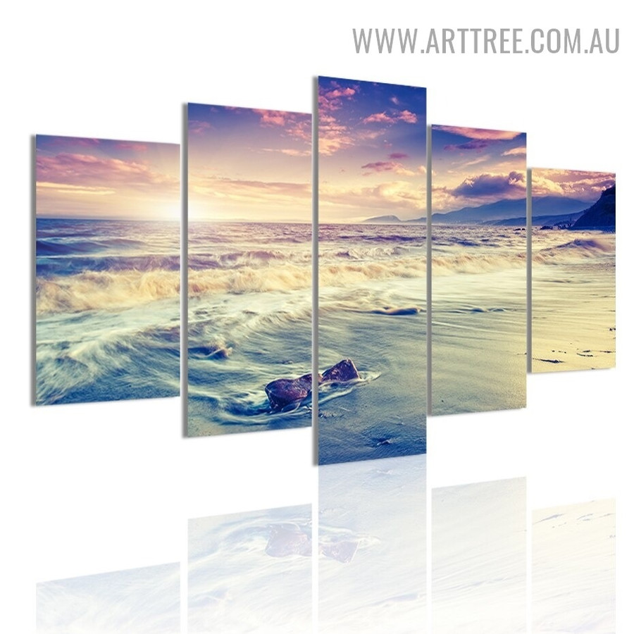Morning Sky Mountain Naturescape Modern 5 Piece Split Painting Image Floral Canvas Print for Room Wall Decor
