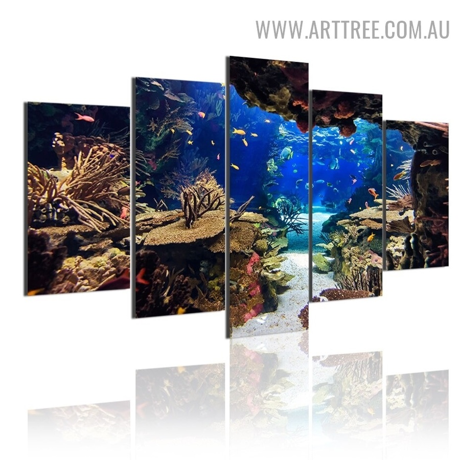 Tropical Aqua Plants Fishes Modern 5 Piece Animal Multi Panel Image Canvas Seascape Painting Print for Room Wall Drape