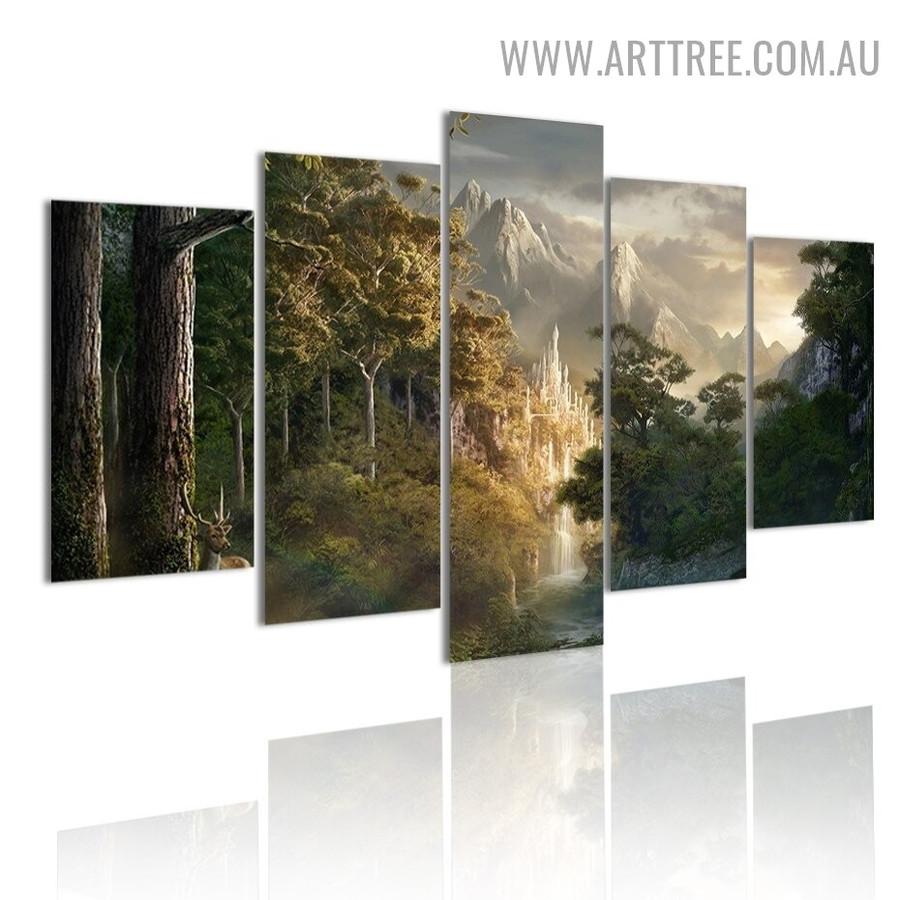 Arbor Deer Trees Modern Animal 5 Piece Split Pattern Landscape Artwork Image Canvas Print for Room Wall Molding