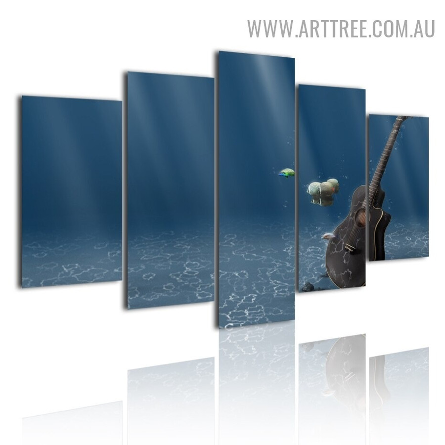 Deep Ocean Water Seascape Modern 5 Piece abstract Large Canvas Wall Painting Image Canvas Print for Room Finery