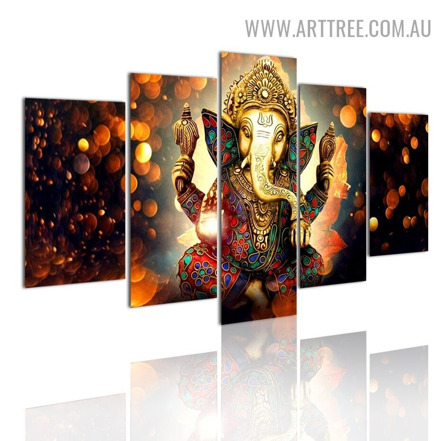 Lord Ganesha Spots Abstract Modern 5 Piece Multi Panel Image Canvas Painting Print for Room Wall Adornment