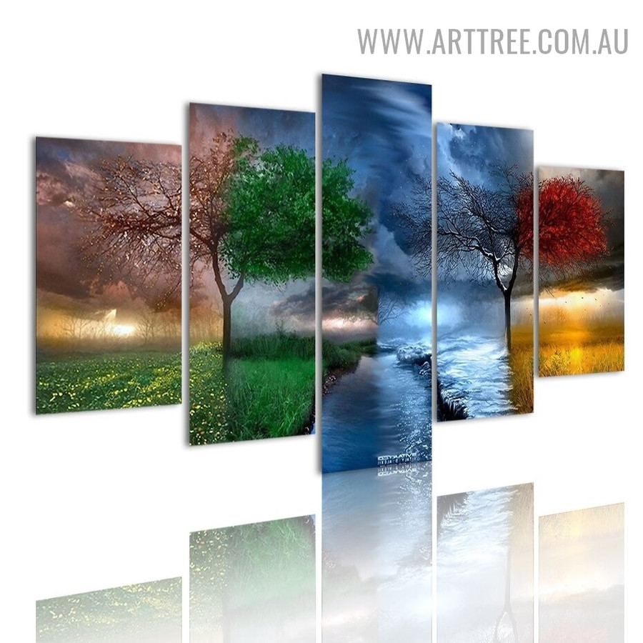 Seasonal Saplings Land Naturescape Modern 5 Multi Panel Image Canvas Painting Print for Room Wall Adornment