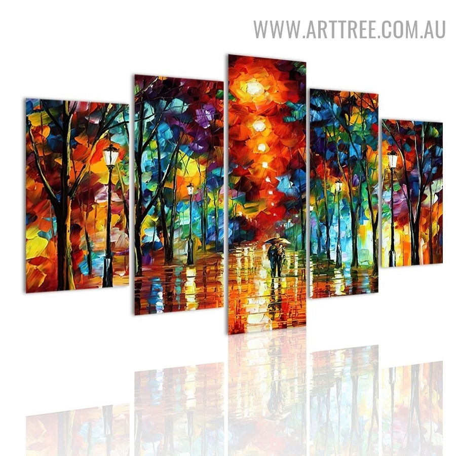 Motley Night Park Couple Landscape Modern 5 Piece Abstract Multi Panel Image Canvas Art Print for Room Wall Decor