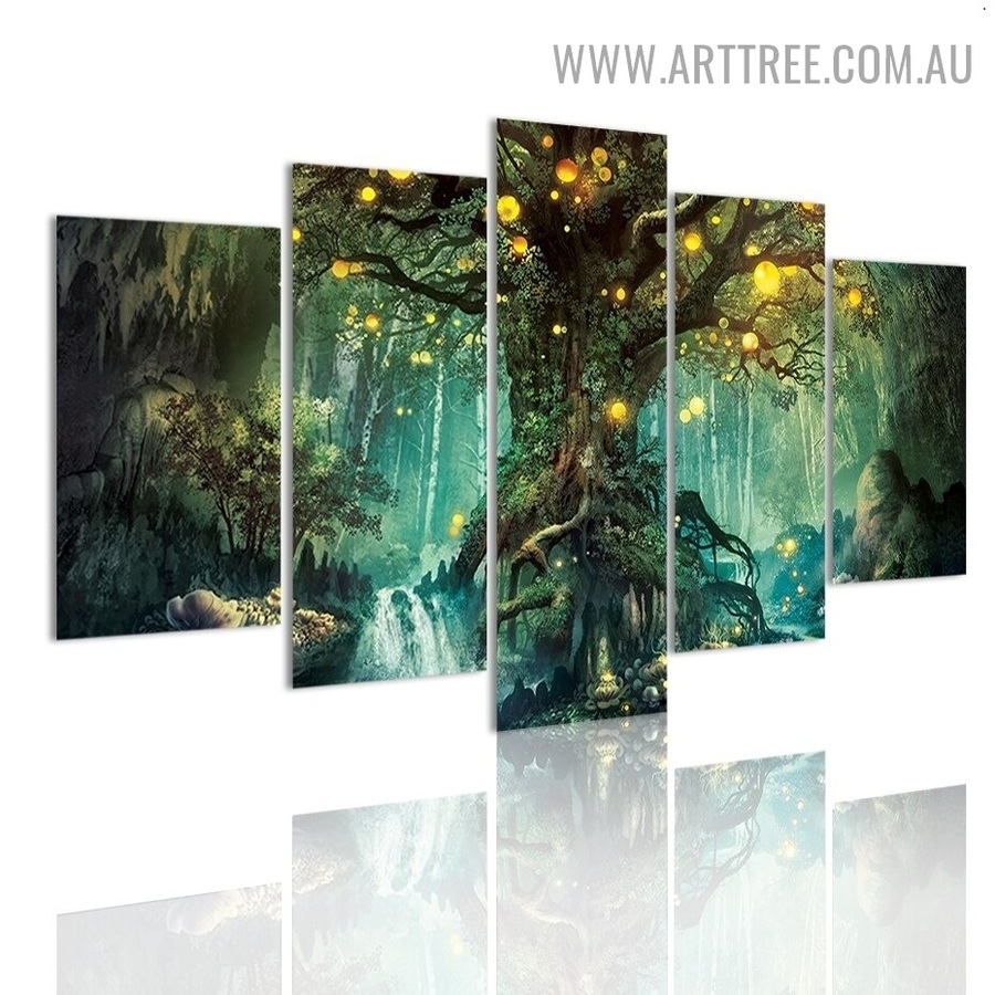 Solitude Trees Stones Landscape Modern 5 Piece Large Size Wall Art Photo Canvas Print for Room Equipment