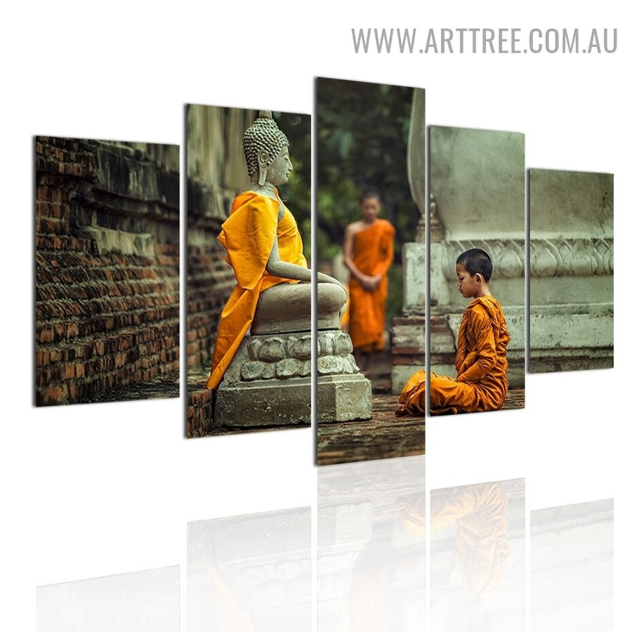 Buddha Meditation Trees Landscape Modern 5 Piece Split Image Canvas Art Print for Room Wall Finery