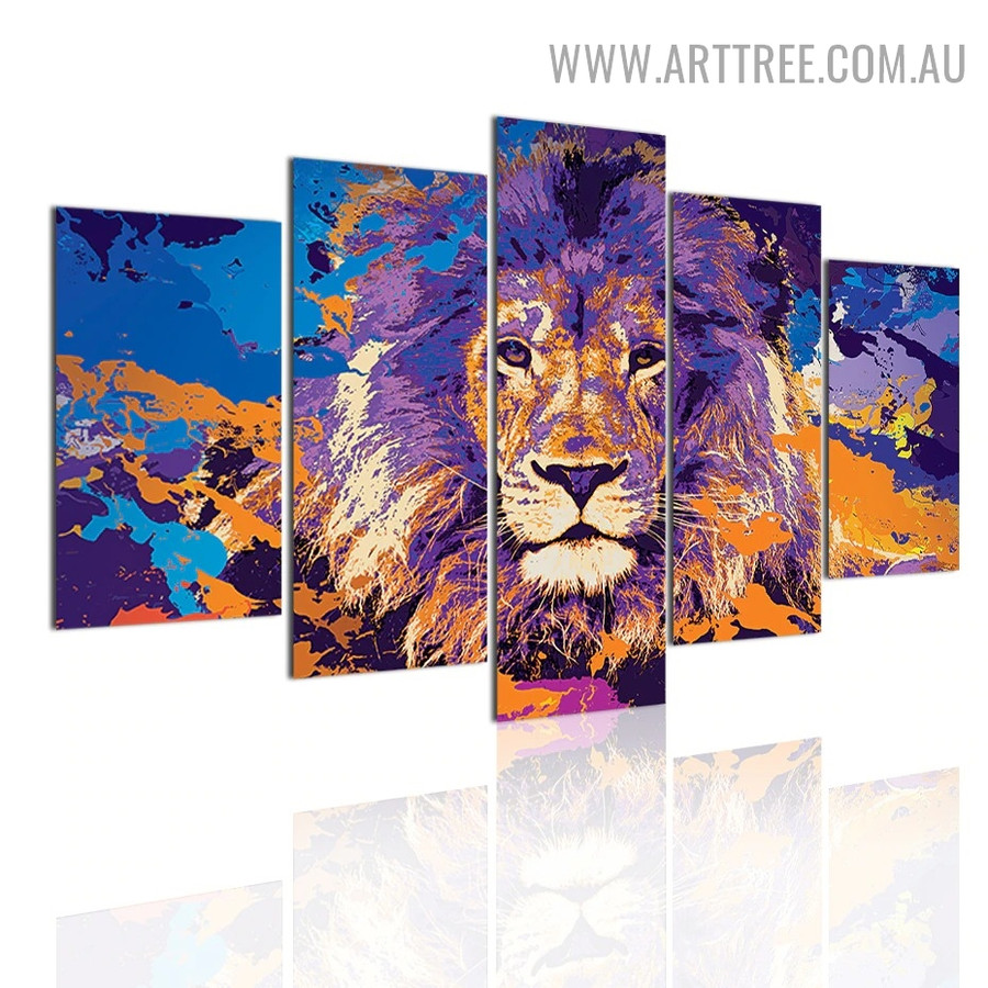 Taint Lion Visage Spots 5 Piece Animal Modern Over Size Abstract Image Canvas Painting Print for Room Wall Garnish