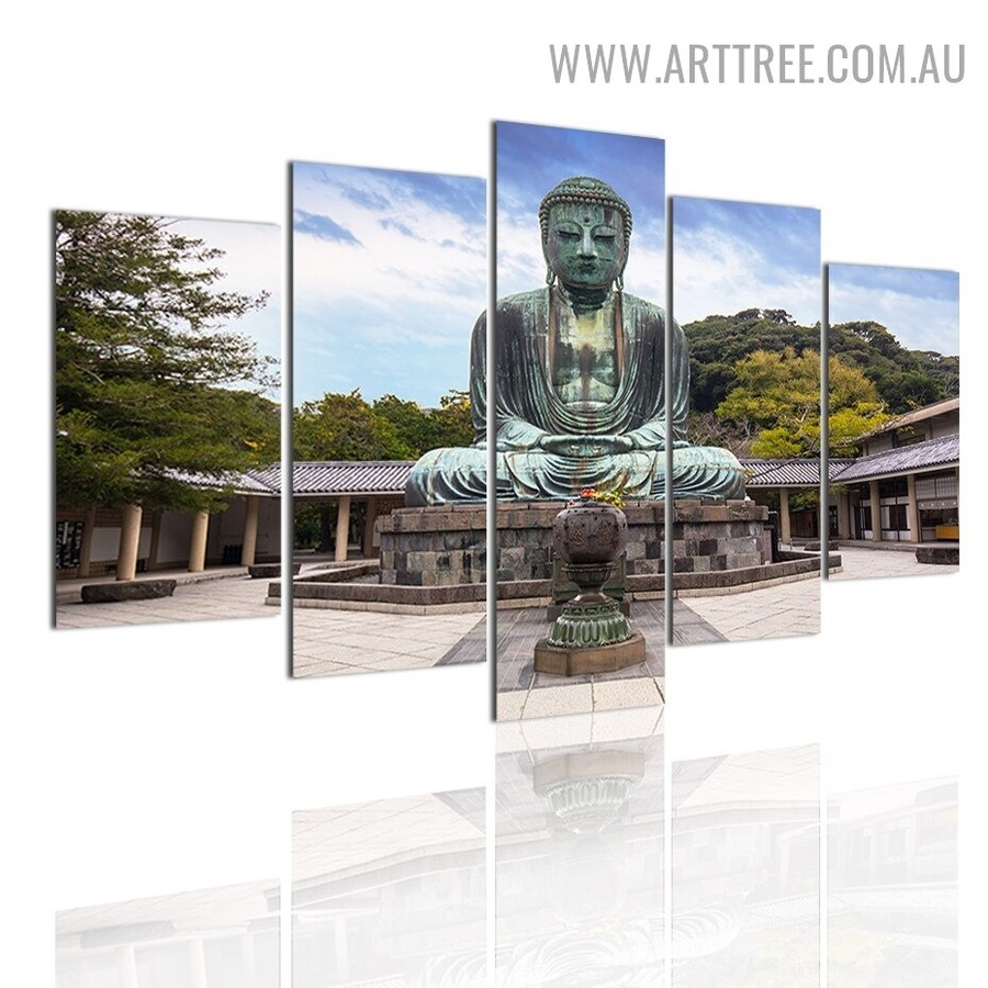 The Great Buddha Sky Modern 5 Piece Large Size Landscape Artwork Image Canvas Print for Room Wall Onlay