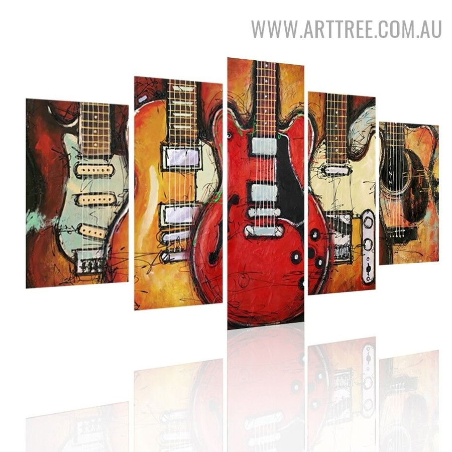 Hued Guitars Scratches Abstract Modern 5 Piece Split Artwork Image Canvas Print For Room Wall Tracery