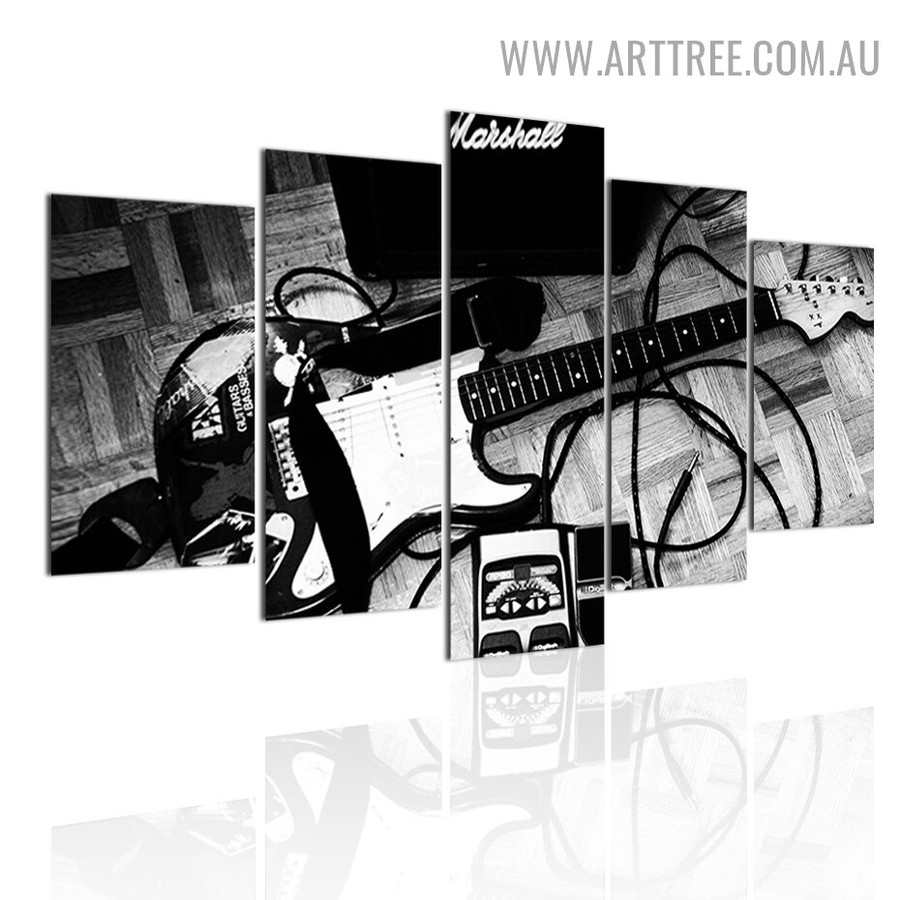Musical Guitar Abstract Modern 5 Piece Large Size Artwork Image Canvas Print for Room Wall Garnish