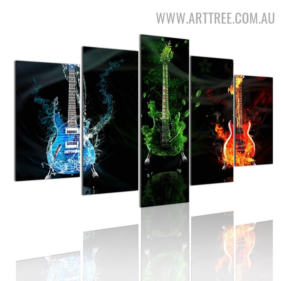 Flaming Guitars Fire Abstract Modern 5 Piece Split Artwork Image Canvas Print for Room Wall Tracery