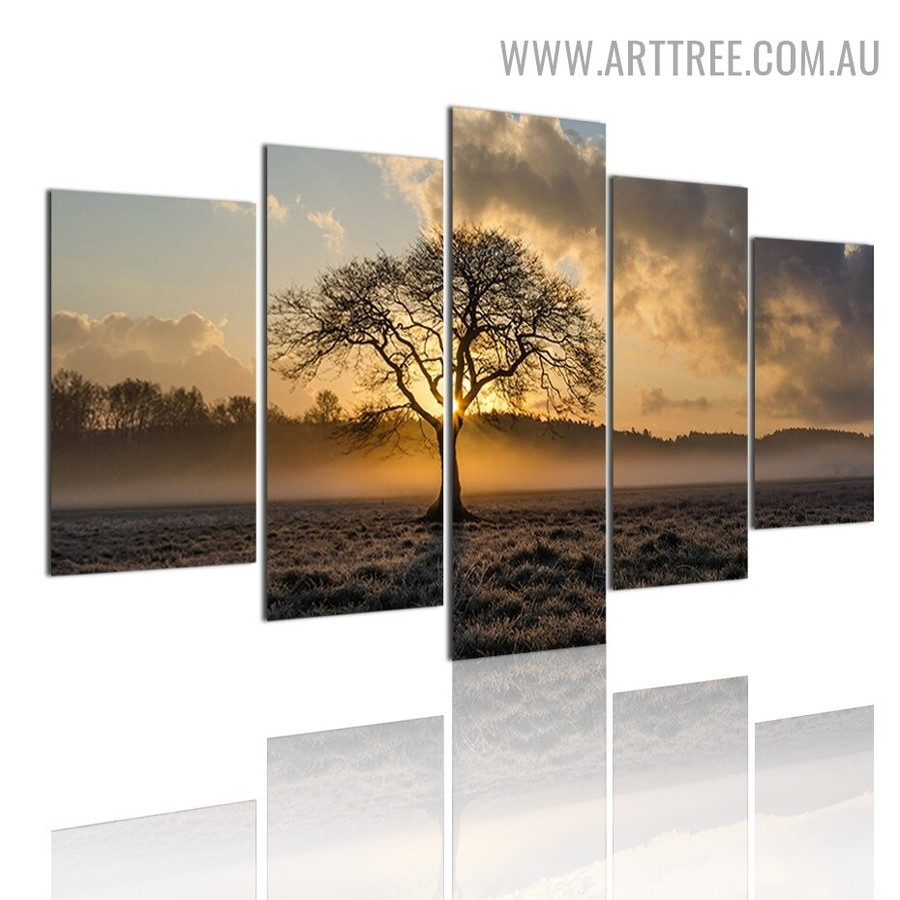 Sunset Firmament Trees Landscape Modern 5 Piece Large Canvas Wall Art Image Canvas Print for Room Illumination
