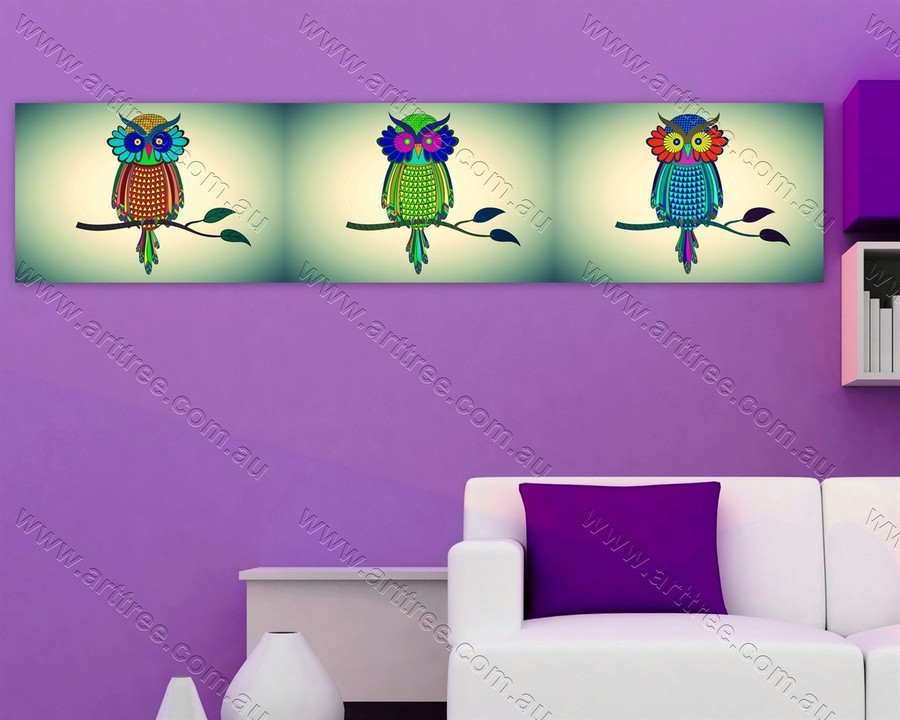 Multi color Owls on Branch
