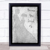 Celine Dione Because You Loved Me Man Lady Dancing Grey Song Lyric Quote Print