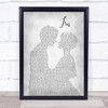 Goo Goo Dolls Iris Man Lady Bride Groom Wedding Grey Song Lyric Quote Print