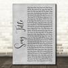 Any Song Lyrics Custom Grey Rustic Script Personalised Lyrics Print