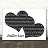 Lionel Richie Endless Love Landscape Black & White Two Hearts Song Lyric Music Art Print